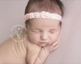 Vintage PInk Rhinestone Baby Flower Headband, Baby Headband, aby Girl Headband, Photography Prop
