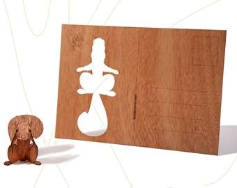 postcard wood - squirrel, three-card-set