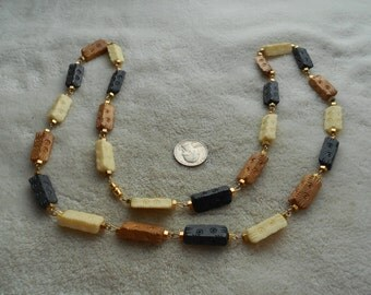 Vintage Necklace- Tan-White & Black Colored Chunky Rectangle Beaded-N1516
