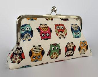 Owl purse bag/ Custom made clutch /Birthday gift purse/ Spring Evening purse clutch/ Gift for her/ Fall wedding purse/ Owls