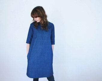 Denim Dress - Blue Denim Dress - Double Collar Dress - Handmade by OFFON
