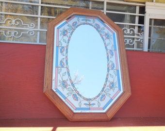 Stained Glass Look Mirror Very Pretty ITS 32 Inches tall, 22 inches wide/Not Included in Coupon Discount Sale