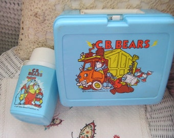 1977 C.B Bears Lunch and Thermos Set Plastic / Childhood Memories /Very Hard To Find / NOT INCLUDED In Any Discount or Couon Sales