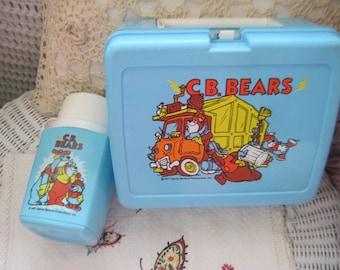 C.B Bears ,Lunch Box, C.B Bears Lunch and Thermos Set Plastic 1977, Vintage Lunch Box,C.B Bears , Plastic Lunch box