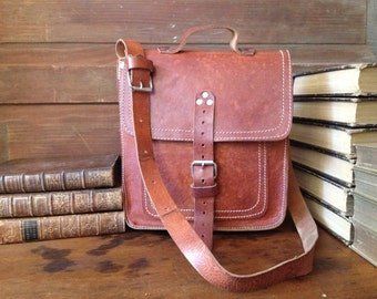 Vintage Artisan ~ Rustic Brown Leather Saddle Bag // Crossbody Messenger ~ Mini Briefcase