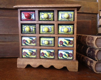 Wood Spice Cabinet Colorful Pottery Ceramic Home Decor