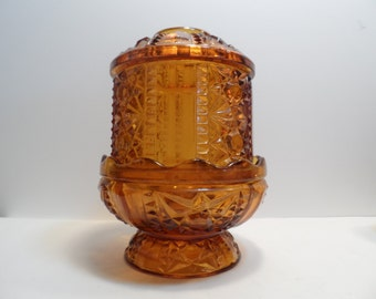 Indiana Glass Amber Fairy Lamp 2 pc Candle Holder Stars and Bars Pattern