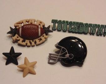 5 piece touchdown football button set set , 13-40 mm (48)