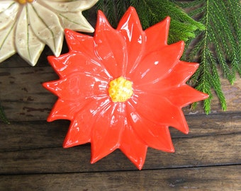 Vintage Ceramic Dish, Poinsettia Plate, Appetizer Dish, Handmade Painted Bright Red Christmas Decoration, Holiday Dish
