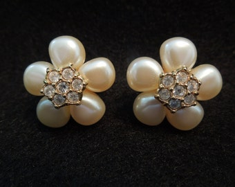 Vintage Avon Earrings, Clusters with Rhinestones, Clip On Style.  Signed Avon