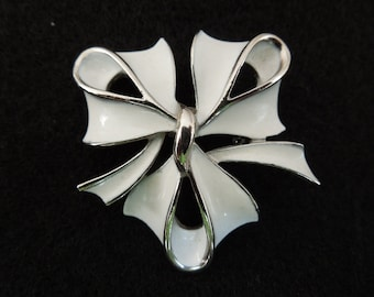 Vintage Bow Brooch, Silver Tone with White Enamel, Christmas Brooch