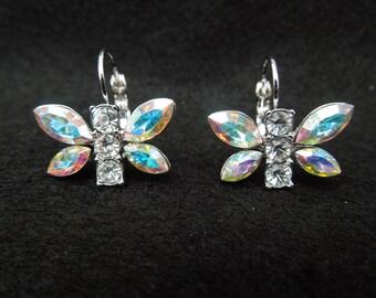 Vintage Butterfly Earrings.  Kings Folly, For Pierced Ears.  Silver Tone with Aurora Borealis Rhinestones