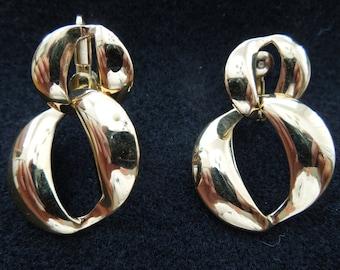 Vintage Napier Screw Clip Earrings, Gold Toned, Excellent Condition.