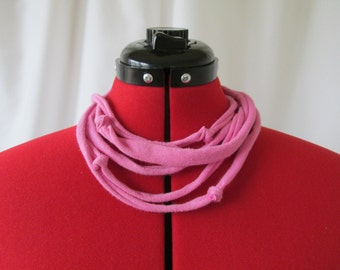 Pink Necklace - Pink T Shirt Necklace - Pink Fabric Necklace - Eco Jewelry - Handmade Necklace - Upcycled Necklace - OOAK