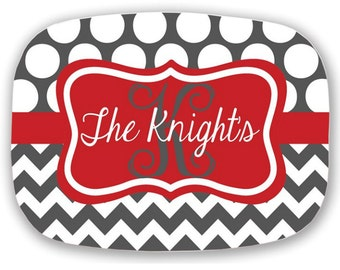 Personalized Melamine Platter, Monogrammed Platter, 10x14 Platter, Hostess Gift, Wedding Gift, Christmas Gift, Housewarming Gift