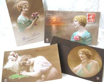 set of 4 antique French postcards, vintage postcards, photograph postcards, handtinted, bonne annee, bonne fete, happy new year
