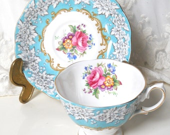 English floral tea cup Royal Albert Enchantment vintage teacup tea cups english teacup blue vintage teacup 548