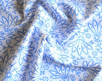 blue floral vintage fabric vintage french fabric antique blue floral german fabric quilting patchwork fabric 160
