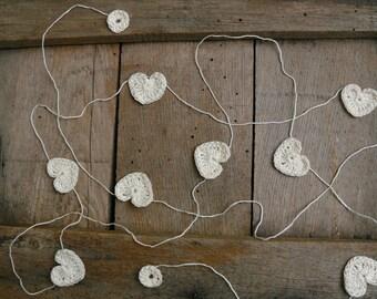 Crochet Garland, Wedding garland, crocheted hearts, Wall Hanging, Wedding Garland, crochet ornaments, embellishment, cotton ecru applique