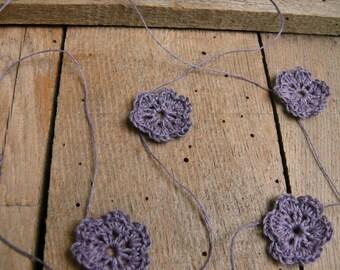 Crocheted lavender purple flowers garland, wedding garland, wall hanging, wedding cake topper,crochet ornament, embellishment
