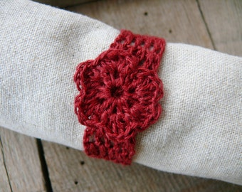 Crochet wedding napkin rings, Set of 4, 6, 8, 12, rustic table decor, Shabby chic, wedding napkin rings, burgundy red linen napkin rings