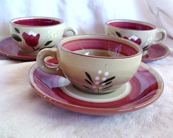 Set of three Stangl Magnolia cups and saucers