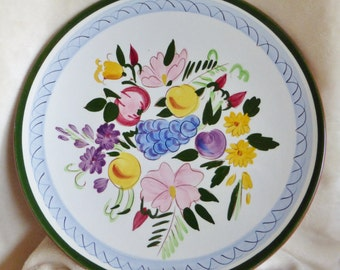 Stangl vintage handpainted plate, Fruits and Flowers design