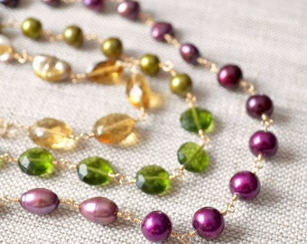 Long Colorful Pearl Necklace, Olive Green Plum Gold, Real Freshwater, Shaded Gemstone Jewelry - Changing Orchard - Free Shipping