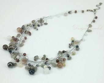Smoky quartz,hematite hand knotted on silk thread necklace.