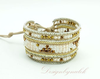 Brown color crystal wrap bracelet.