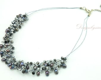 Grey freshwater pearl,crystal,moonstone on silk necklace.