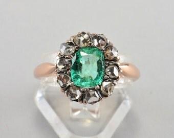 Victorian 1.20 Ct colombian emerald rose cut diamond ring