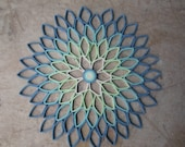 Round wall art Dahlia home decor Paper artwork Blue green Living room Bedroom wall hanging