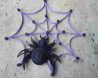 Spider web wall hanging Halloween home decor Black purple door hanging