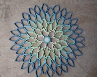 Round wall art Dahlia home decor Paper artwork Blue green Living room Bedroom wall hanging