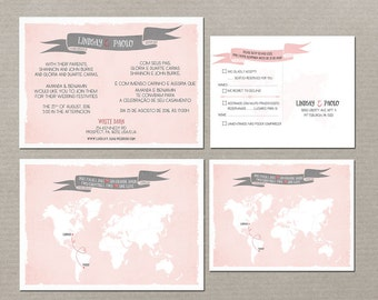 Destination Wedding Invitation Bilingual RSVP   Two Countries, Two Hearts  One Love English Portuguese