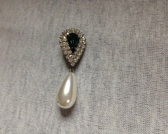Vintage Green Gem and Rhinestone Teardrop Pearl Design Pin/Brooch