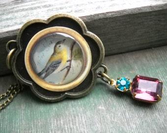 Winter Song Bird Necklace/Nature/Bird/Winter/Boho/Victorian/Woodland