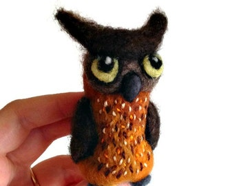 Brown Fish Owl Sculpture, Needle Felted Owl Soft Sculpture - 'Poe'