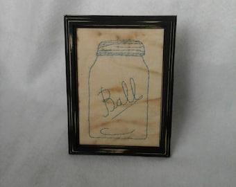 Primitive Ball Mason Jar Picture 5x7 Inches