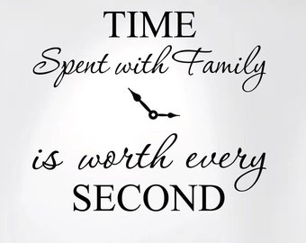 "Time Spent with Family Is Worth Every Second Home Wall Decal Sticker Clock #1249 (20"" wide x 17"" high)"
