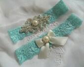 Wedding Garter, Vintage Garter set, Aqua Blue Stretch Lace with pearl and rhinestone applique