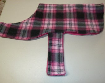 S Pink, Hot Pink, Charcoal and Black Plaid Fleece Dog Coat (Small)
