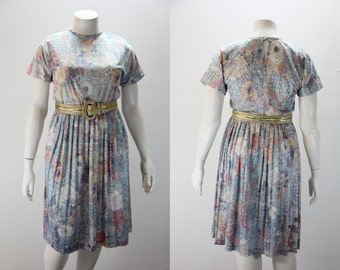 XL - XXL  Vintage Dress Romantic  Rose Print w Dolman Sleeve