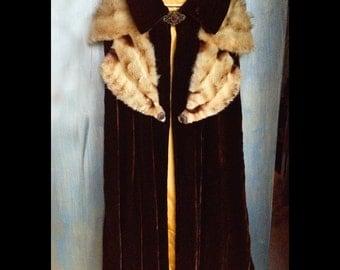 Anemone-Vintage Luscious Brown Velvet Cape, Royal, Elegant, Vintage Oversized Fur Collar, Vintage Door Hardware and Ornate Closure