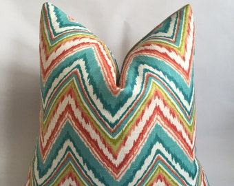 Turquoise, Orange, Green and White Chevron Linen Fabric and Natural Burlap Back Pillow Cover