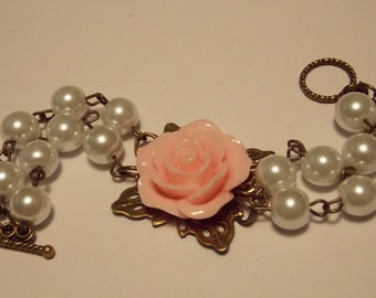 Pink and White Rose Pearl Bracelet