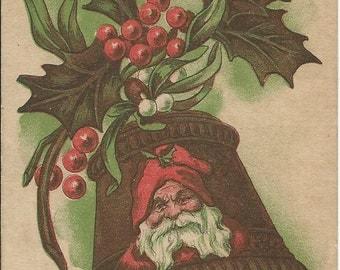 Santa Bell With Holly Vintage Christmas Postcard Holiday Greeting
