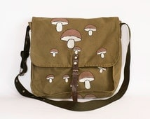 Vintage Upcycled Hand Painted Military Bag Green Cotton Canvas Messenger Bag with Mushrooms