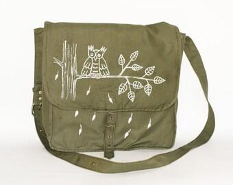 Vintage Hand Painted Upcycled Owl Military Bag Green Cotton Canvas Messenger Bag, Crossbody Bag, Unisex bag, School Bag, Travel Bag